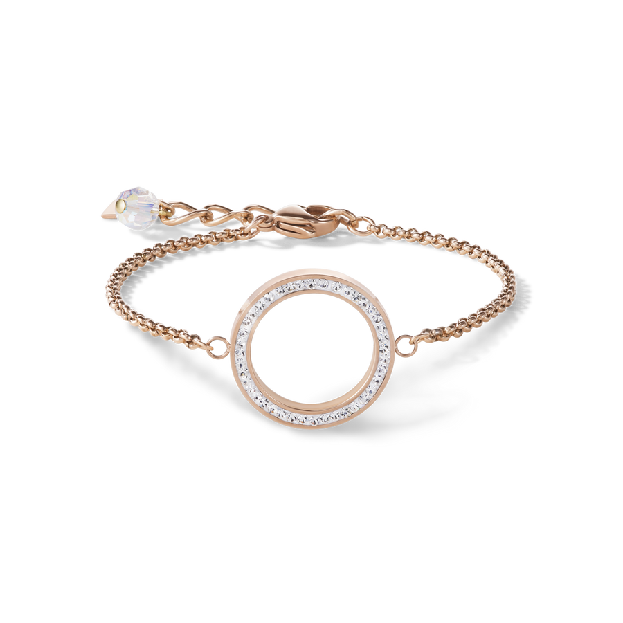 Bracelet Ring Crystals pavé & stainless steel rose gold & crystal