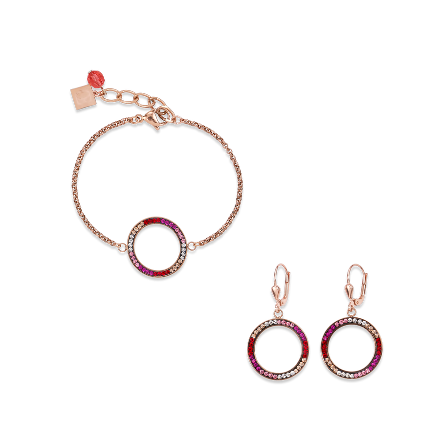 SET Ring Crystals pavé & stainless steel rose gold & red-rose