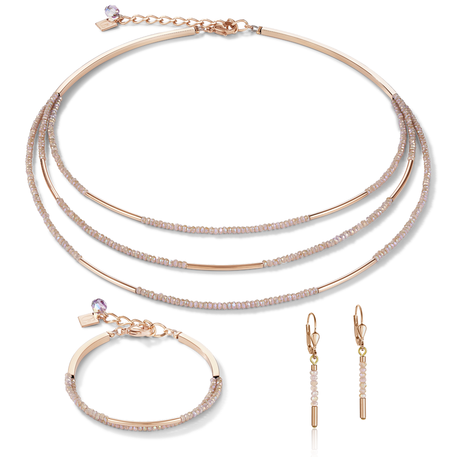 Necklace Waterfall stainless steel rose gold & glass nude