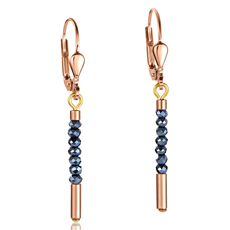 Earrings Waterfall stainless steel rose gold & glass anthracite