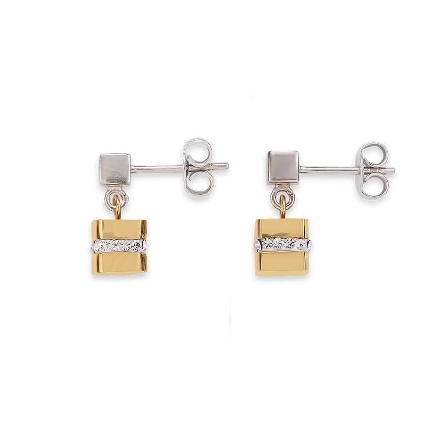 Earrings Cube stainless steel gold & crystals pavé crystal