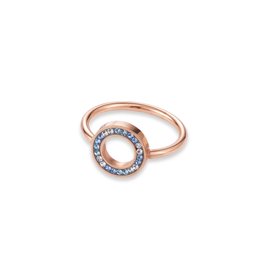 Ring Crystals pavé blue small & stainless steel rose gold