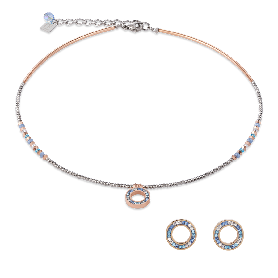 SET Ring Crystals pavé blue small & stainless steel rose gold & silver