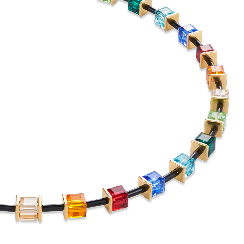 Necklace GeoCUBE® Limited Edition Swarovski® Crystals & stainless steel multicolour-gold