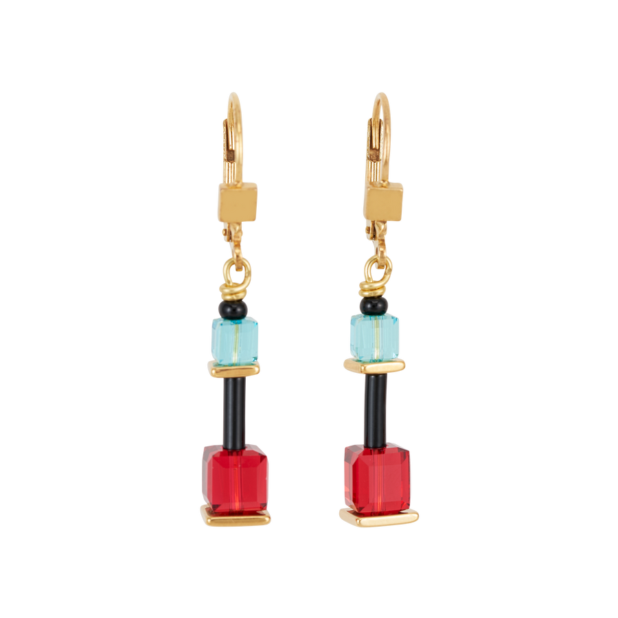 Earrings GeoCUBE® Limited Edition Swarovski® Crystals & stainless steel multicolour-gold