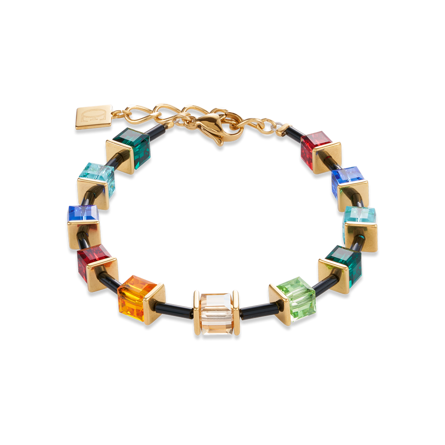 Bracelet GeoCUBE® Limited Edition Swarovski® Crystals & stainless steel multicolour-gold