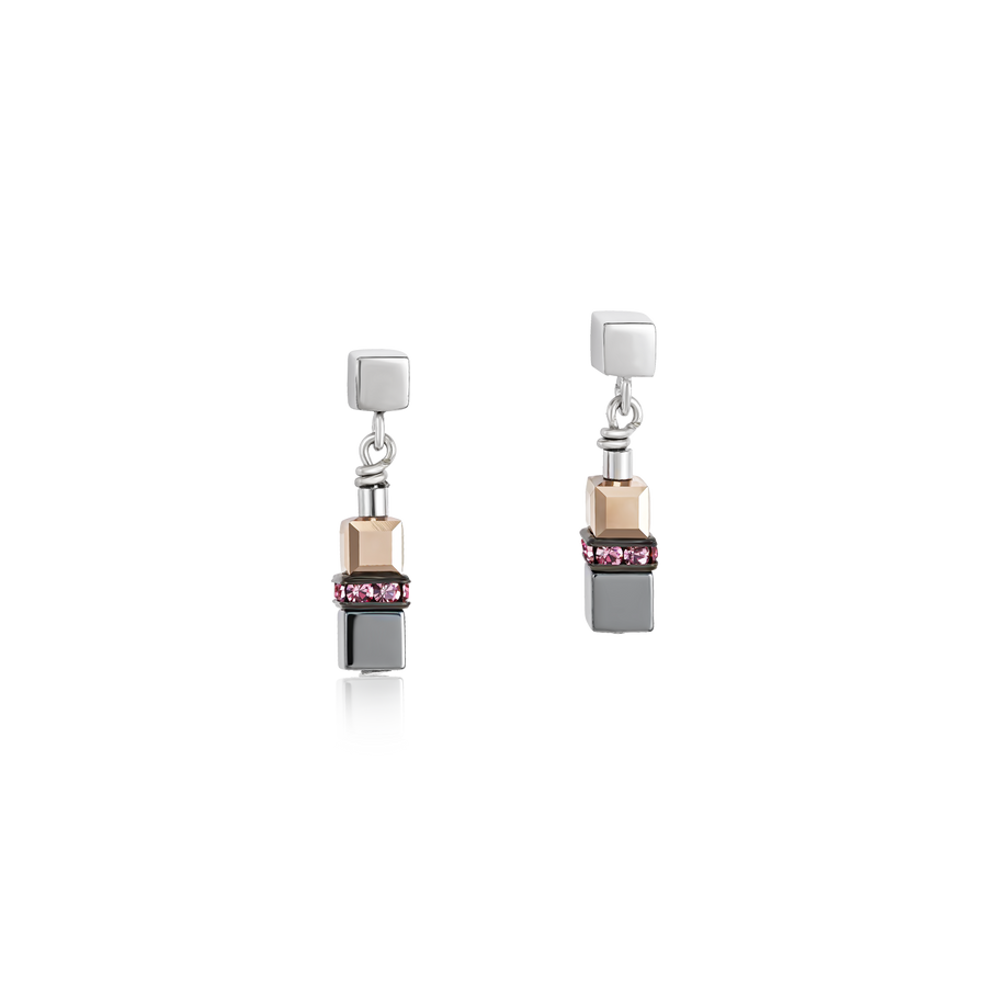 Earrings GeoCUBE® small Haematite & Swarovski® Crystals light rose