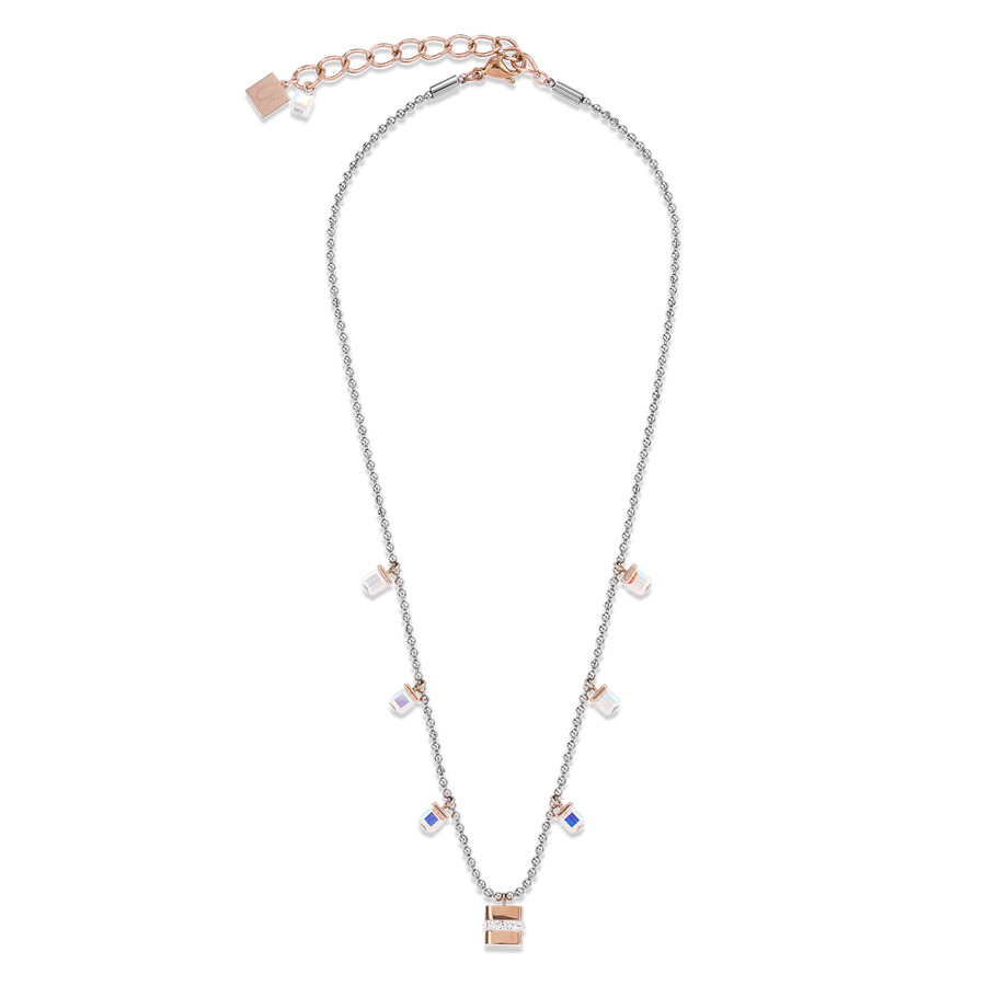Necklace Cube stainless steel rose gold & crystals pavé & Swarovski® Crystals silver-crystal