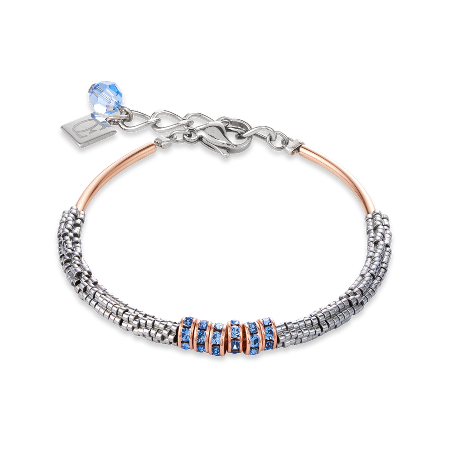 Bracelet Haematite & rhinestone light blue
