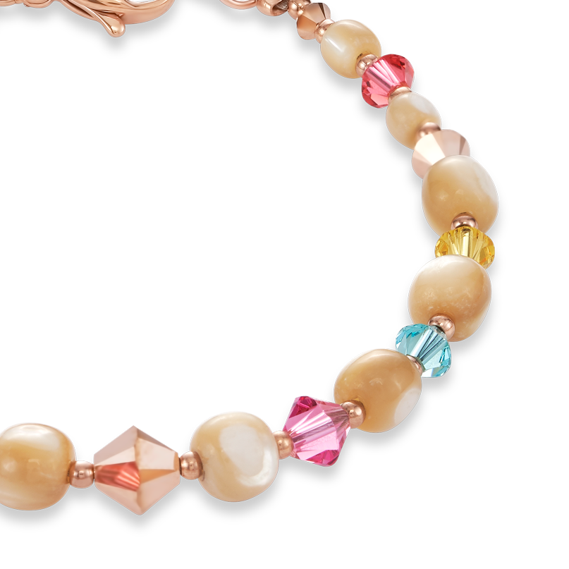 Bracelet Mother-of-pearl, Swarovski® Crystals & stainless steel rose gold multicolour