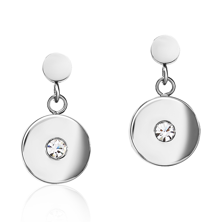Earrings Coin Stainless steel, cut glass & Swarovski® Crystals light blue