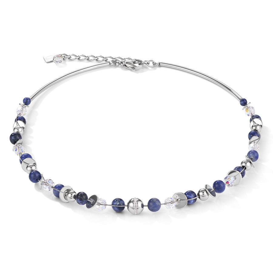 Necklace TwistedPEARLS sodalite & stainless steel blue