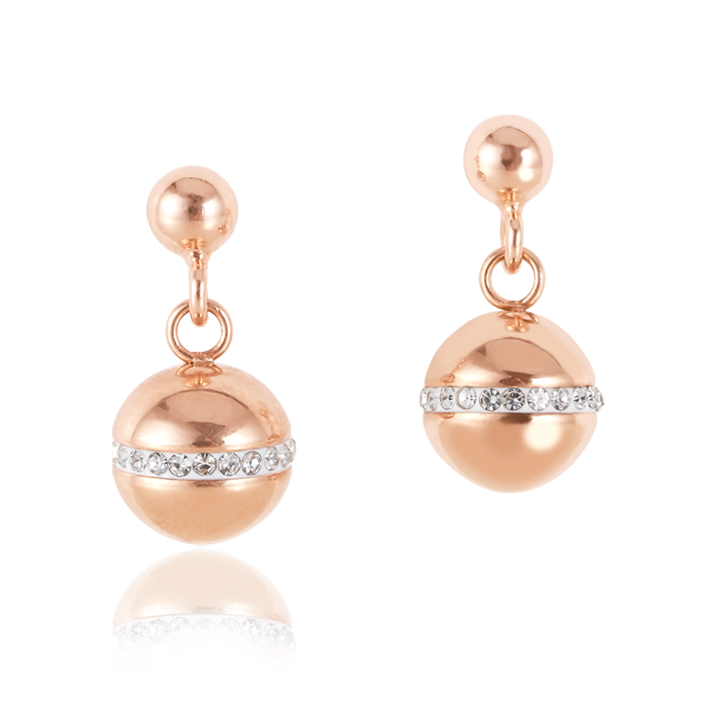 Earrings TwistedPEARLS stainless steel rose gold