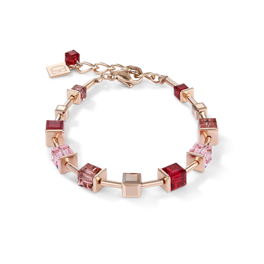 Bracelet GeoCUBE® Swarovski® Crystals & stainless steel rose gold red