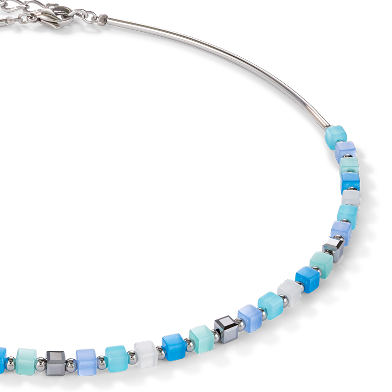 Necklace GeoCUBE® small synthetic tiger's eye & Swarovski® Crystals blue-turquoise