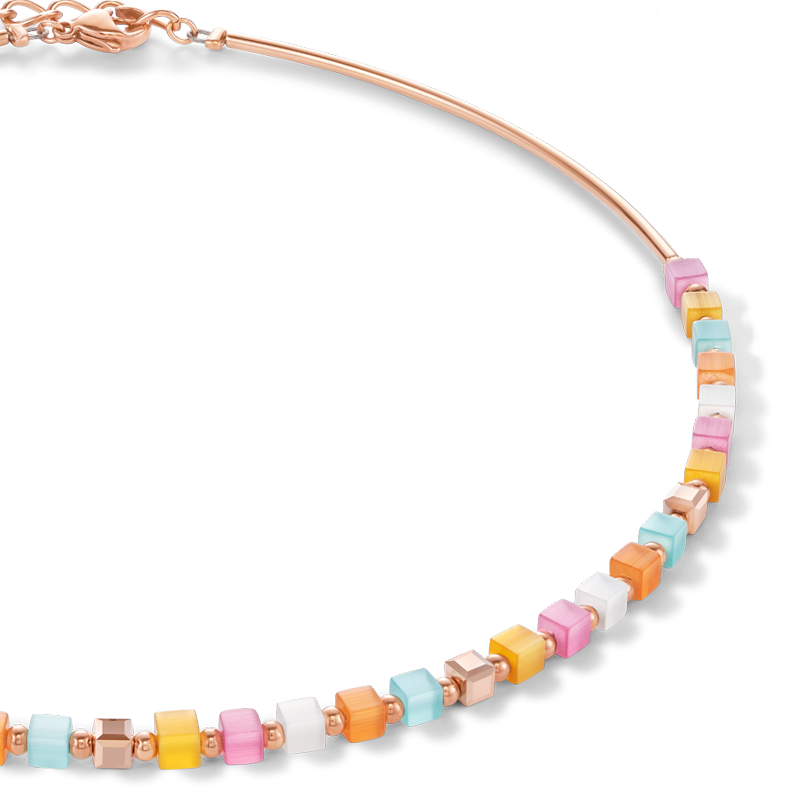 Necklace GeoCUBE® small synthetic tiger's eye & Swarovski® Crystals multicolour pastel 1