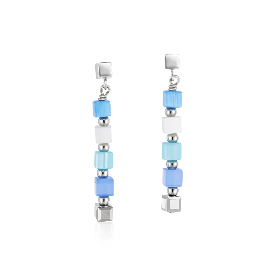 Earrings GeoCUBE® small synthetic tiger's eye & Swarovski® Crystals blue-turquoise