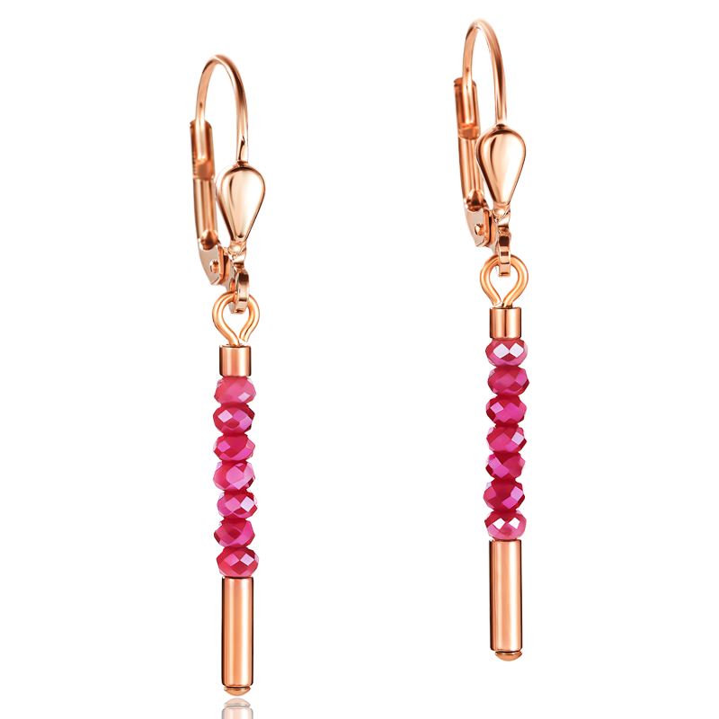 Earrings Waterfall small stainless steel rose gold & glass red