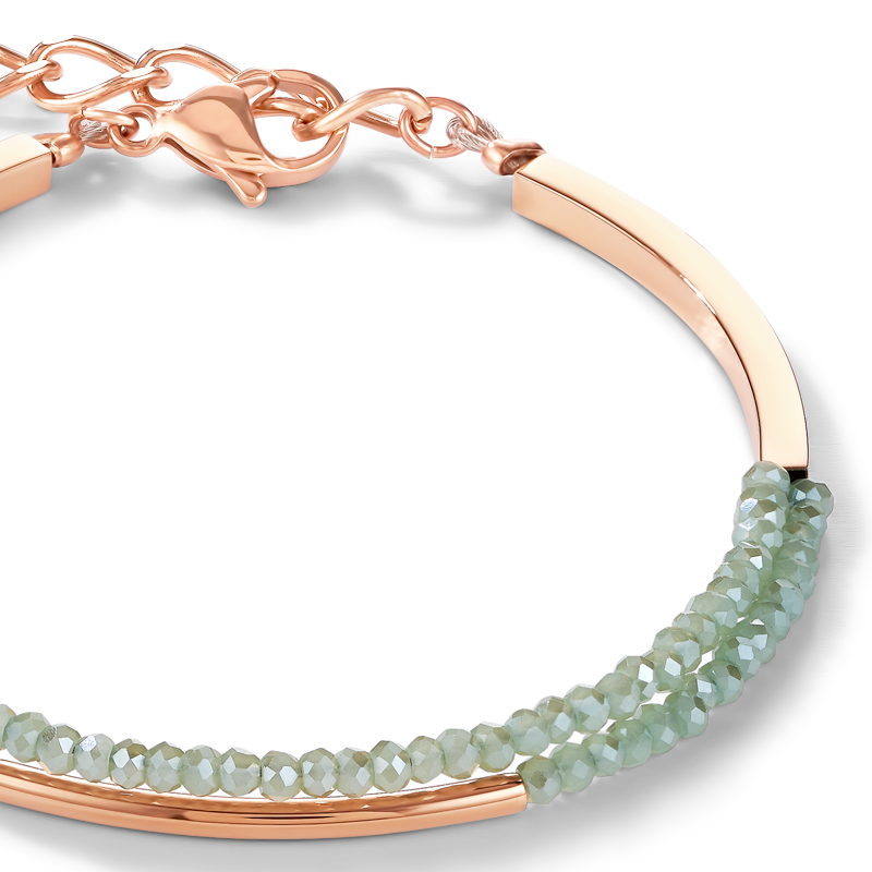 Bracelet Waterfall small stainless steel rose gold & glass light green