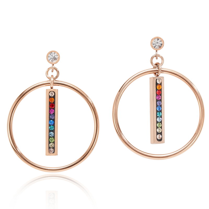 Earrings Stainless Steel rose gold Ring & Crystals pavé strip multicolour