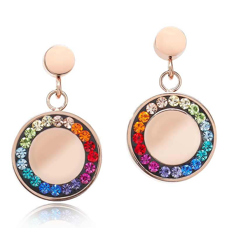Earrings Stainless Steel Disk rose gold & Crystals pavé multicolour