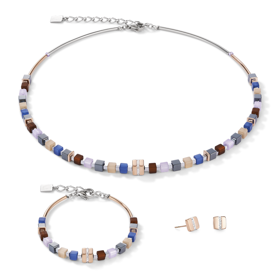 Necklace GeoCUBE® Stainless steel rose gold & crystals pavé blue-brown