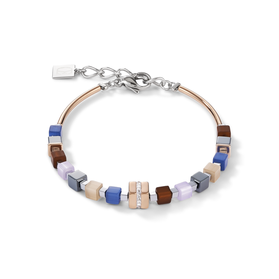 Bracelet GeoCUBE® Stainless steel rose gold & crystals pavé blue-brown