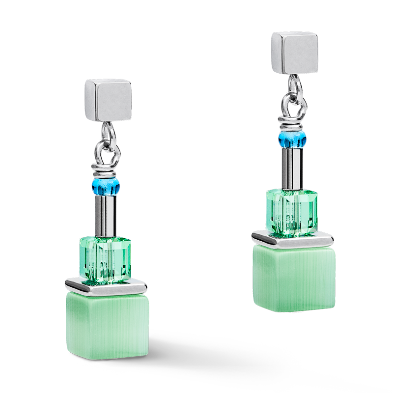 Earrings GeoCUBE® colour couple multicolour pastel-silver