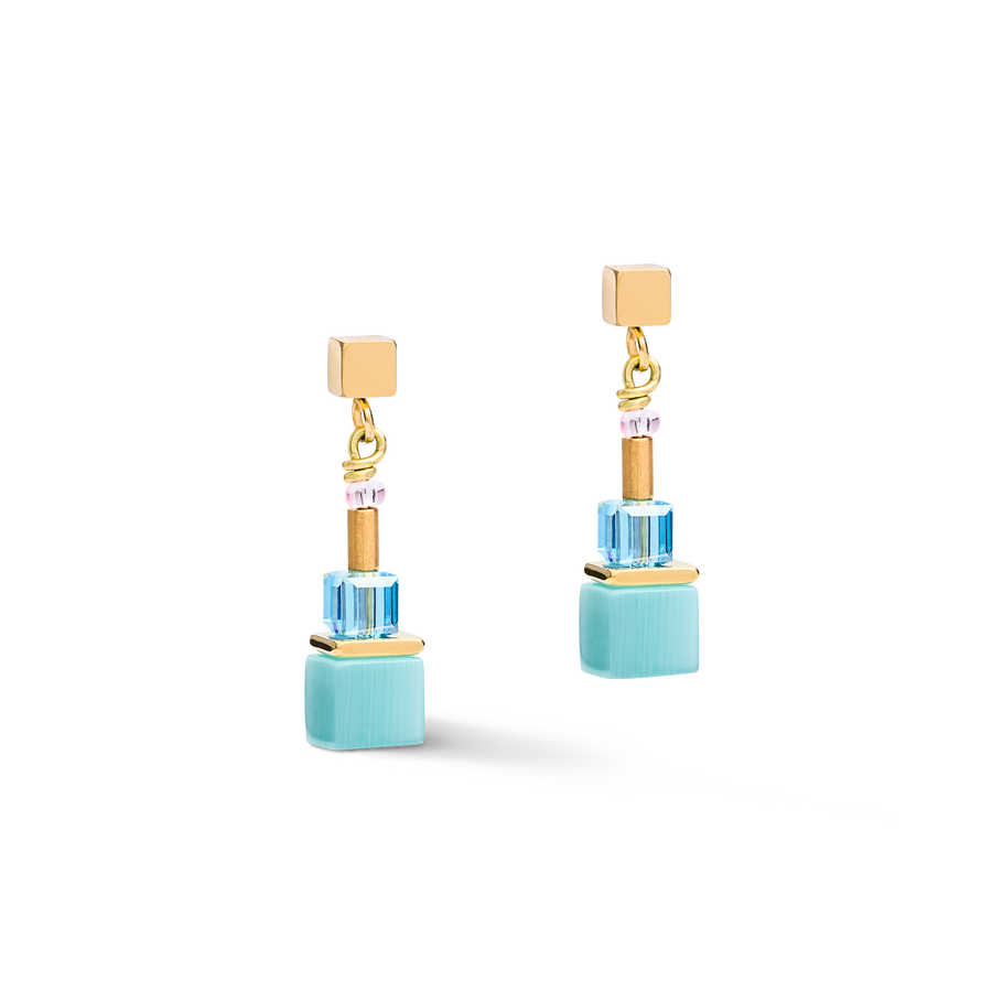 Earrings GeoCUBE® colour couple multicolour rainbow-gold