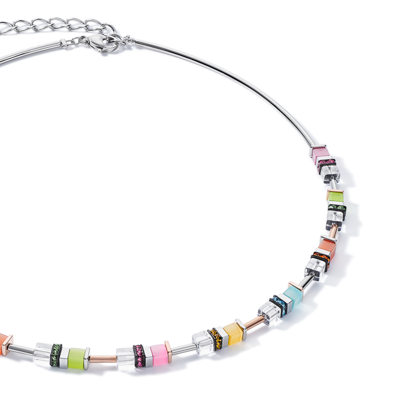 Necklace GeoCUBE® rhinestone multicolour pastel-silver