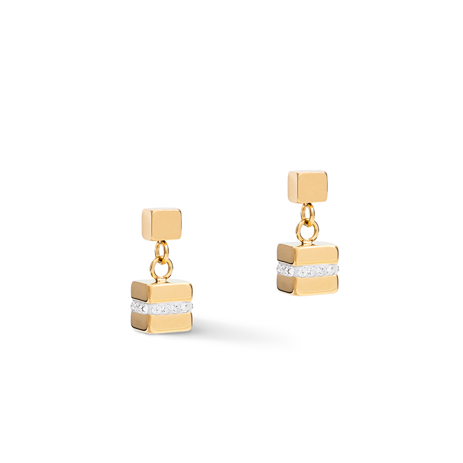Earrings GeoCUBE® small Stainless steel & crystals pavé white-gold-silver