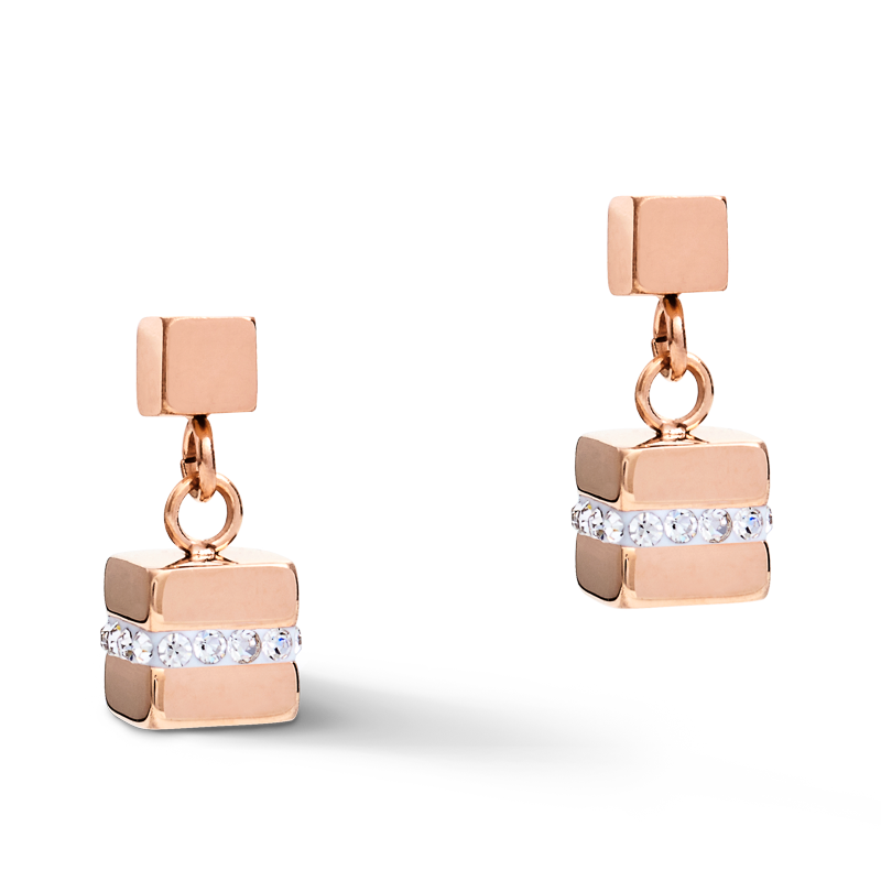 Earrings GeoCUBE® small Stainless steel & crystals pavé white-rose-gold-silver