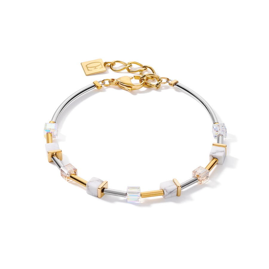 Bracelet GeoCUBE® small Stainless steel & crystals pavé white-gold-silver