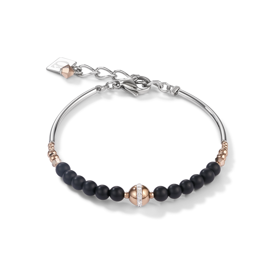 Bracelet Ball stainless steel rose gold & onyx black
