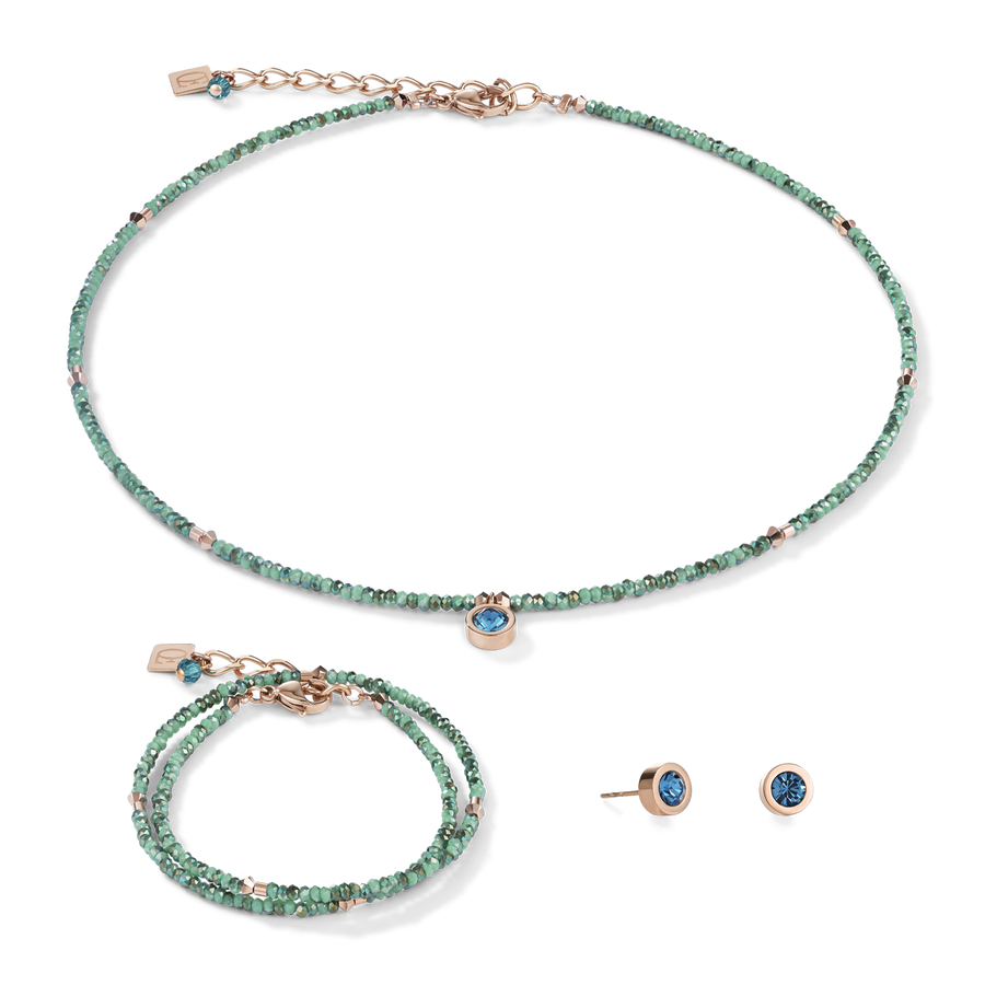 Necklace small crystal rose gold & petrol