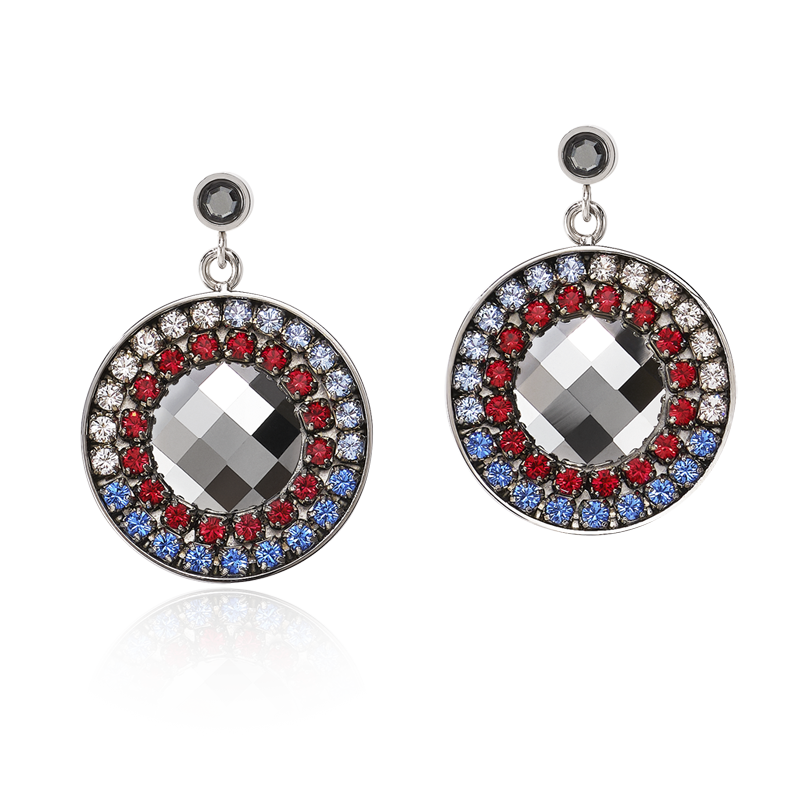 Earrings Amulet Swarovski® Crystals & mesh blue-red