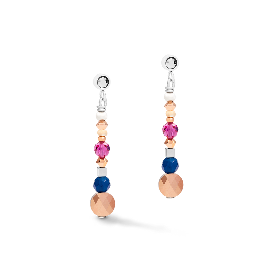 Earrings Amulet small Swarovski® Crystals & agate multicolour ethno
