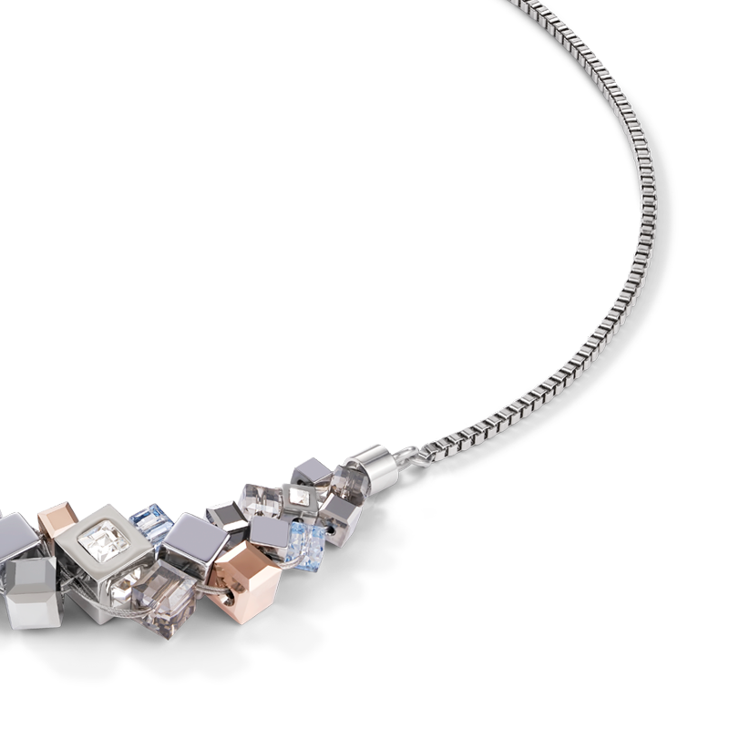 Necklace GeoCUBE® cluster silver-rose gold