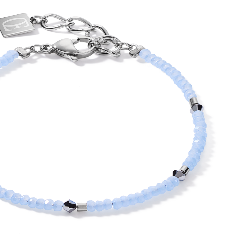 Bracelet fine & delicate single row light blue-silver