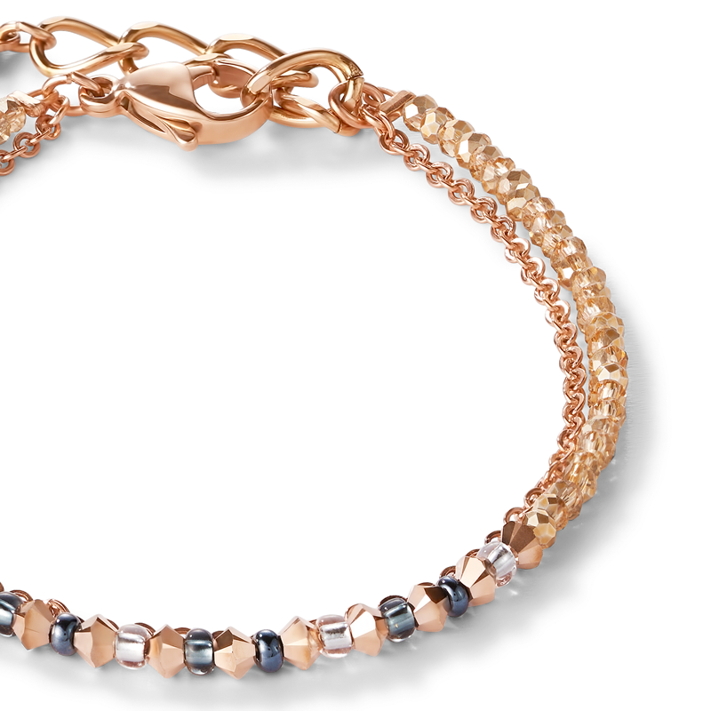 Bracelet fine waterfall rose gold-grey