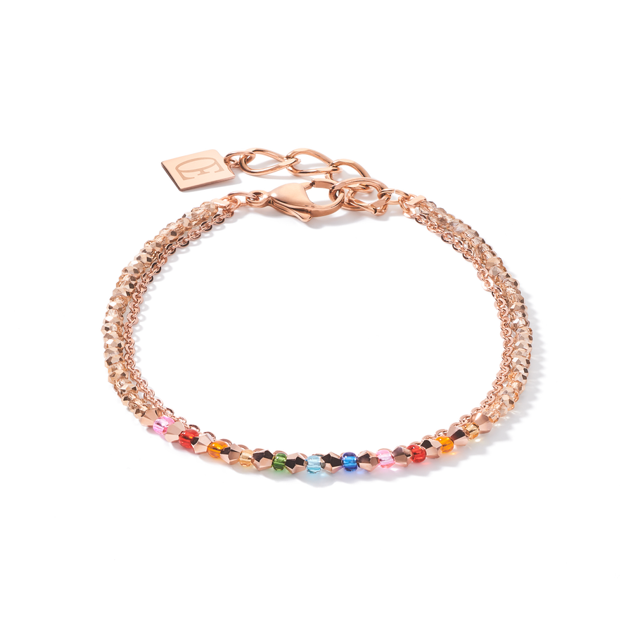 Bracelet fine waterfall rose gold-multicolour