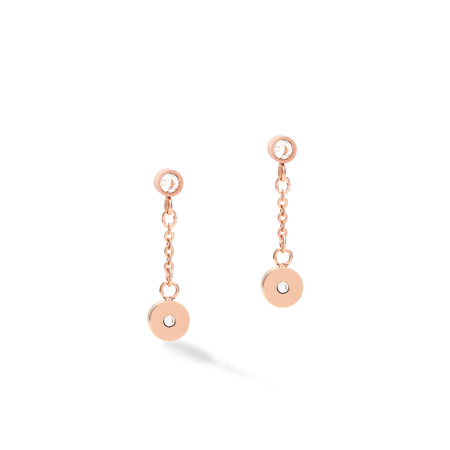 Earrings Coins & Chains rose gold-white