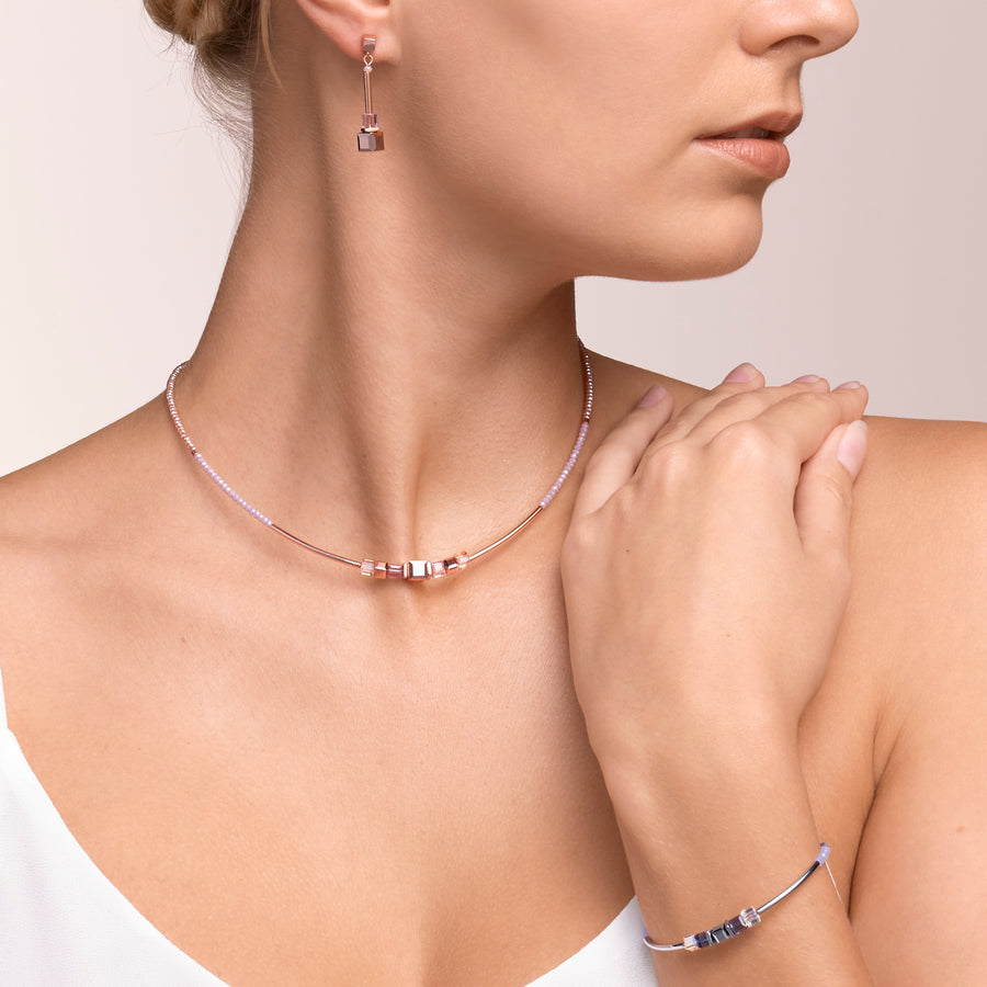 Necklace GeoCUBE® frontline rose gold-lilac