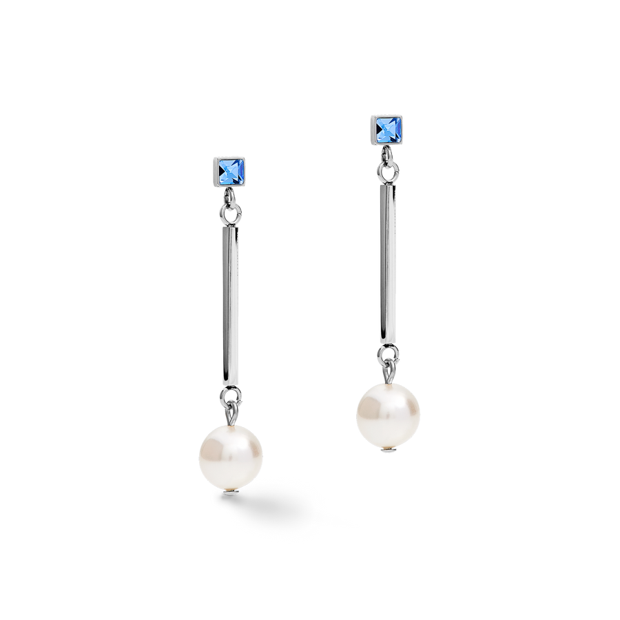 Earrings Crystal Pearls, Swarovski® Crystals & stainless steel silver-light blue