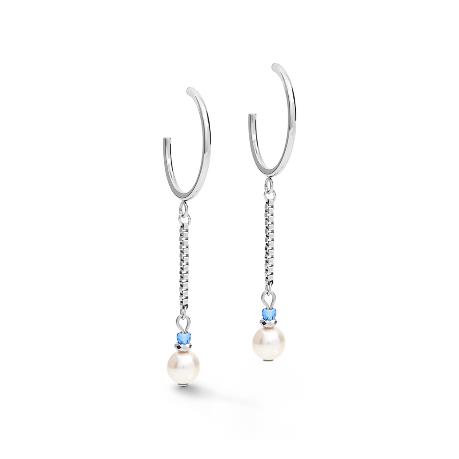 Earrings Creole Ypsilon Chain Crystal Pearl, Swarovski® Crystals & stainless steel silver-light blue