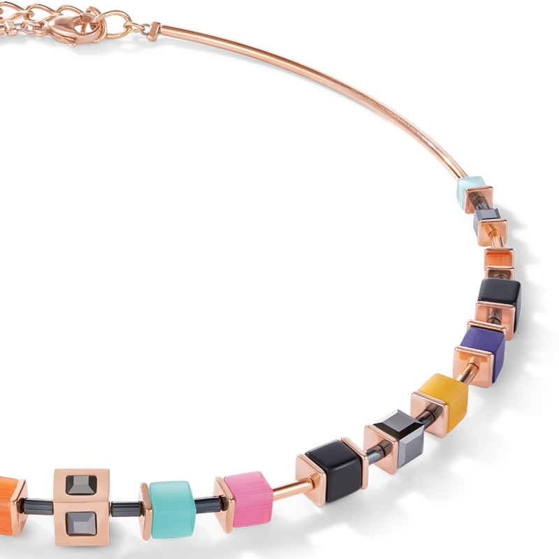 Necklace GeoCUBE® Cube stainless steel rose gold & crystal multicolour couture