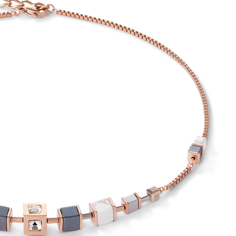 Necklace GeoCUBE® Cube & chain stainless steel & rose gold