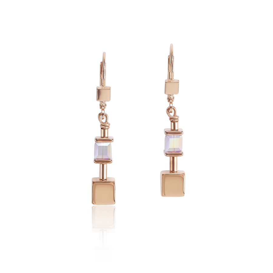 Earrings GeoCUBE® & chain black-white