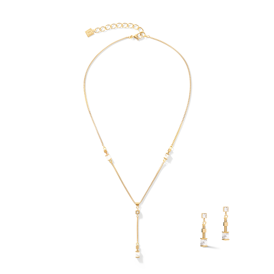 Earrings Y Chain short howlite & stainless steel gold white