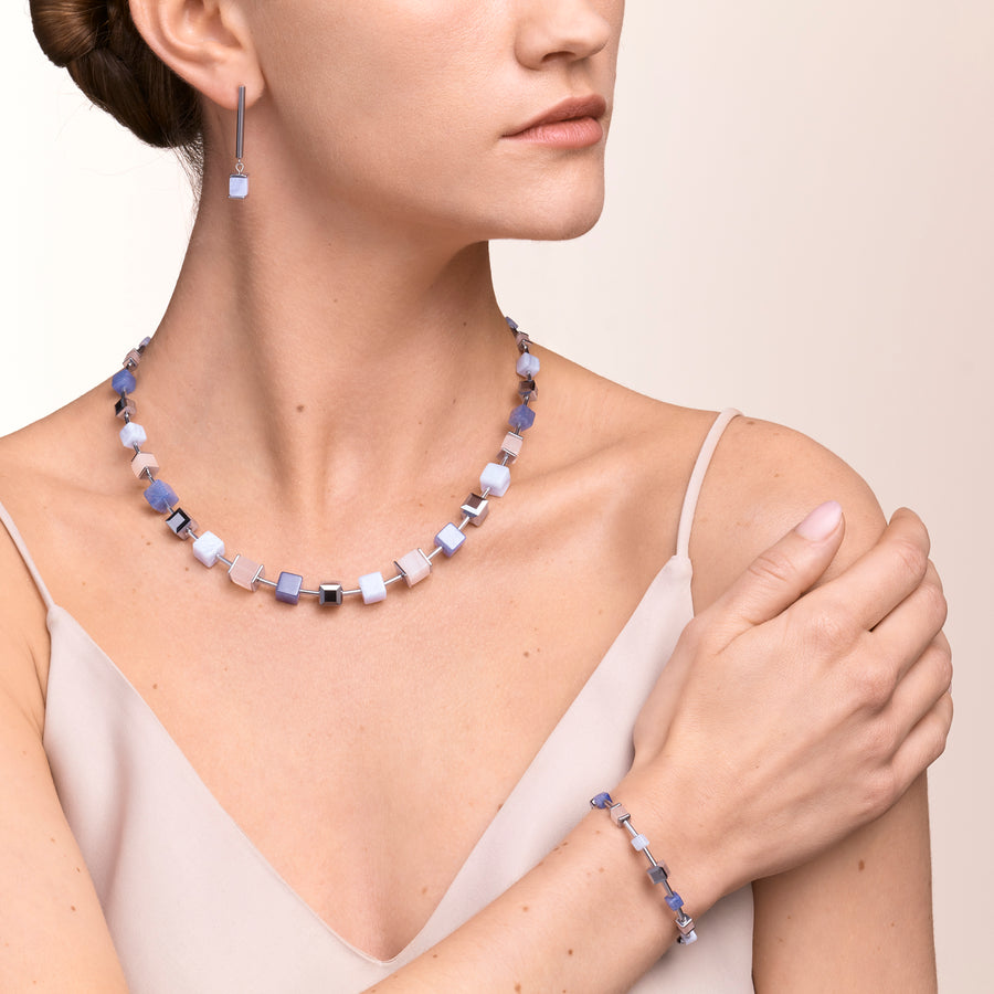 Necklace GeoCUBE® big Gemstones, Swarovski® Crystals & stainless steel rose gold blue-beige